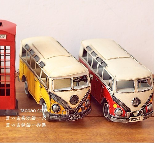 Large Scale White-Yellow / White-Red Tinplate Retro Bus Model