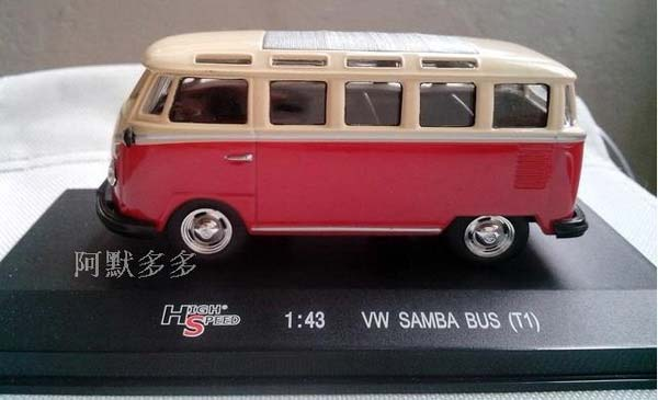 1:43 Scale White-red Highspeed VW SAMBA BUS T1 Model