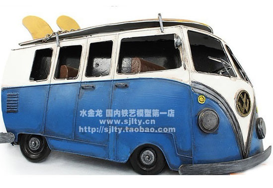 1:18 Large Scale Blue-White Tinplate 1966 VW Bus Model