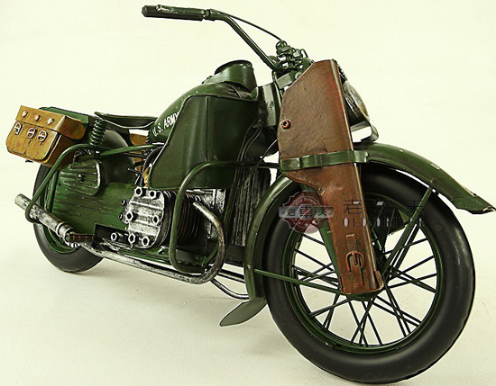 Large Scale Army Green 1944 Harley Davidson WLA Military Model