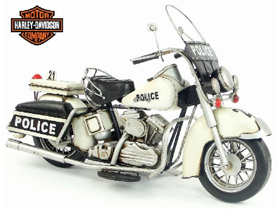 Tinplate White Large Scale 1978 Harley Davidson Motorcycle Model