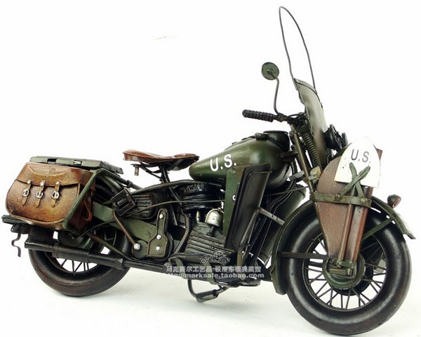 Tinplate Army Green Large Scale 1942 Harley Davidson WLA Model