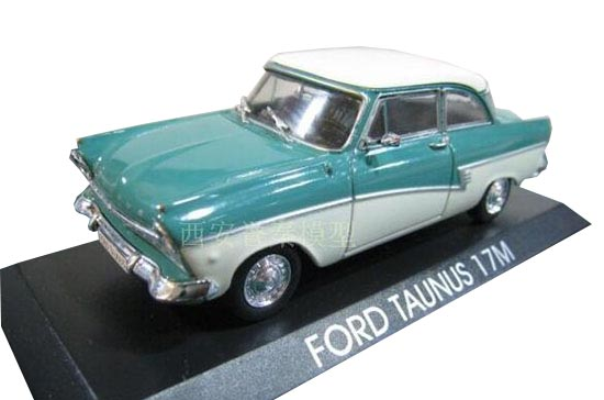 1:43 IXO Blue-White Diecast Ford Taunus 17M Model