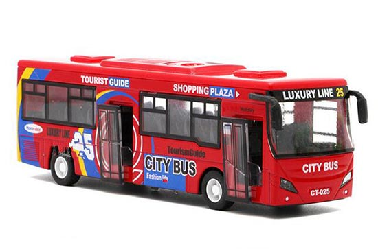 Kids Green / Yellow / Red 1:32 Scale Die-Cast City Bus Toy