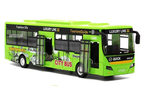 1:24 Scale Kids Green / Yellow / Red Die-Cast City Bus Toy