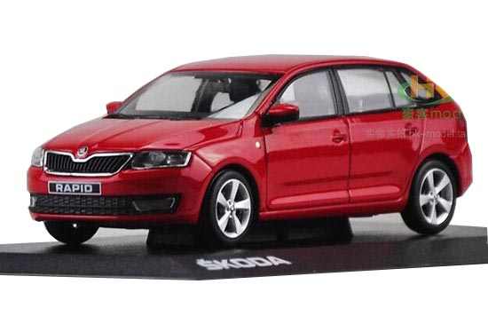 Blue / Red 1:43 Scale Diecast Skoda Rapid Spaceback Model