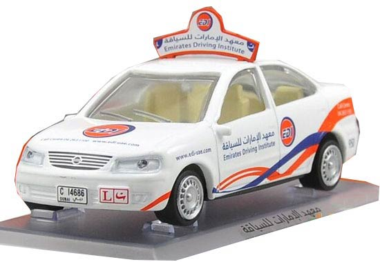 White 1:43 Scale Emirates Driving Institute Diecast Nissan Model