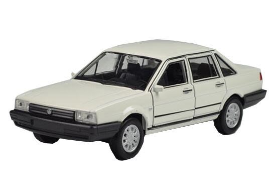 White 1:43 Scale Diecast VW Santana Model