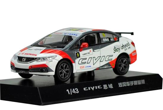 White-Red 1:43 Scale Diecast 2014 Honda Civic Model