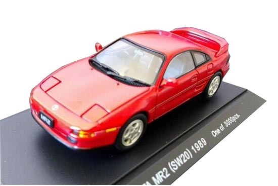 Red 1:43 Scale EBBRO Die-Cast Toyota MR-2 1989 Model