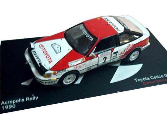 Red-White 1:43 Scale 1990 Diecast Toyota Celica GT-FOUR Model