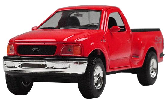 White / Red 1:24 Welly Die-Cast 1998 Ford F-150 Pickup Model