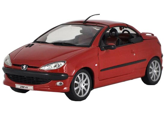 Welly 1:18 Scale Red / Green Diecast Peugeot 206CC Model
