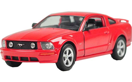 Red / Yellow 1:24 Scale Welly Diecast 2005 Ford Mustang GT