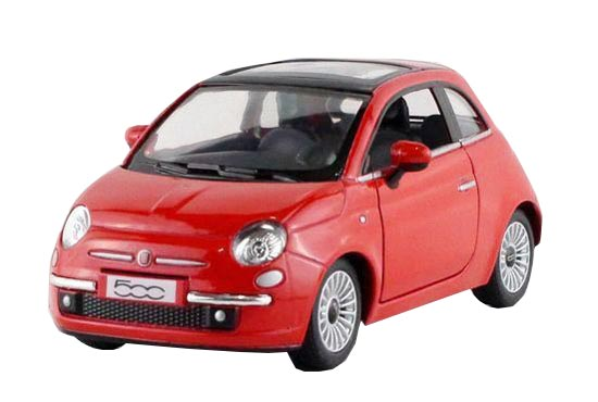 Red / White / Silver / Black Kids 1:36 Diecast FIAT 500C Toy