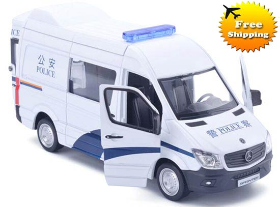 White-Blue Kids 1:36 Police Diecast Mercedes-Benz Sprinter Toy