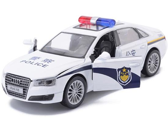 Kids Police 1:32 Pull-Back Function White Diecast Audi A8 Toy