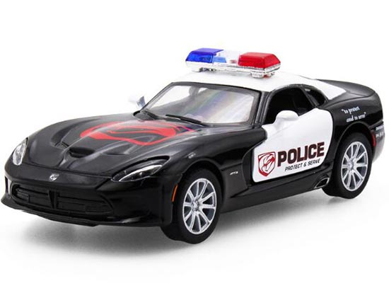 1:36 Scale Kids Black Police Diecast Dodge Viper SRT Toy