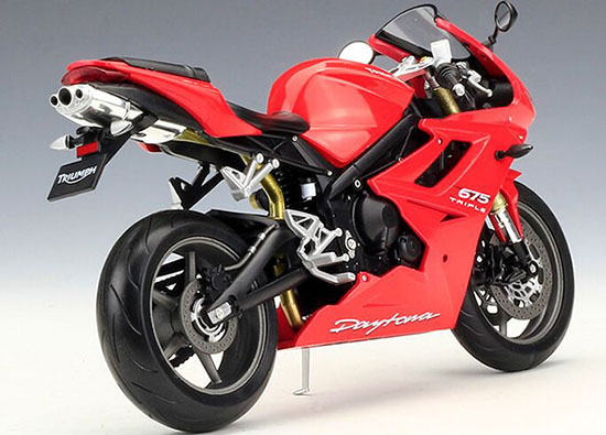 Welly Red Blue 110 Scale Diecast Triumph Daytona 675 Model