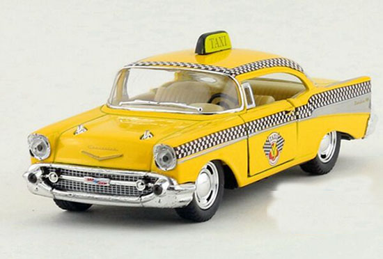 Yellow 1:40 Scale Kids Diecast 1957 Chevrolet Taxi Toy
