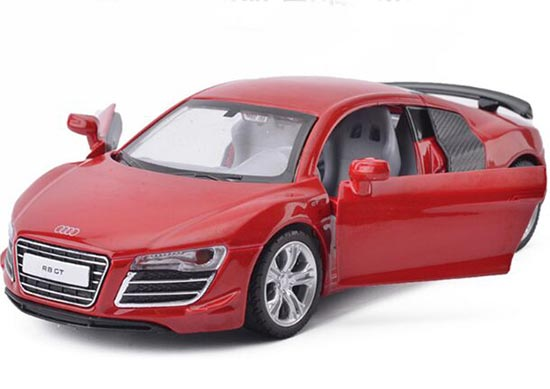 Silver / Red / White Kids 1:32 Scale Diecast Audi R8 GT Toy