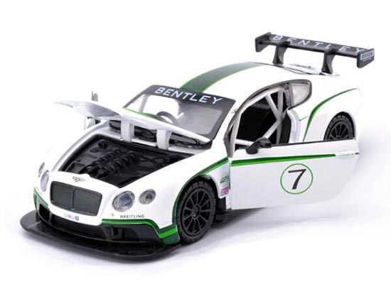 White 1:32 Scale Kids Diecast Bentley Continental GT3 Toy