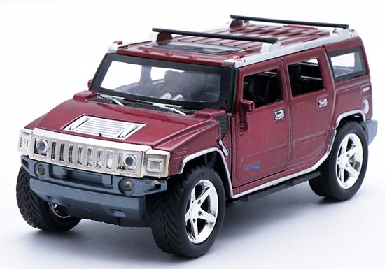 Kids 1:32 Scale Red / Yellow / Black Diecast Hummer H2 Toy