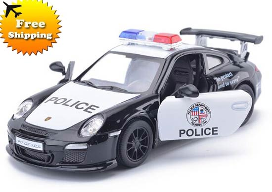 Black-White 1:36 Kids Police Diecast Porsche 911 GT3 RS Toy