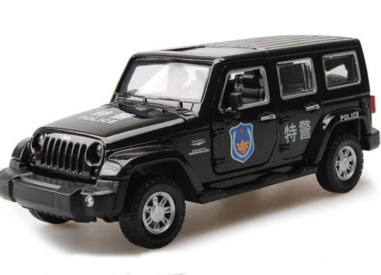 White / Black Police Kids 1:32 Diecast Jeep Wrangler Toy