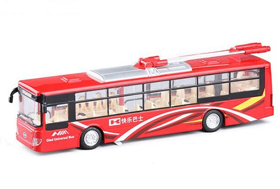 Red / Blue / Yellow Kids Die-Cast City Trolley Bus Toy