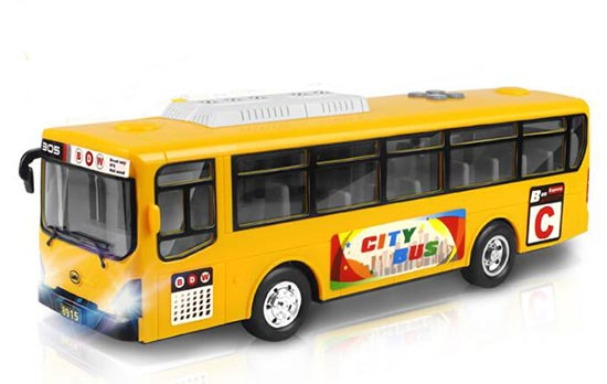 Large Scale Green / Yellow Kids Plastics City Bus Toy