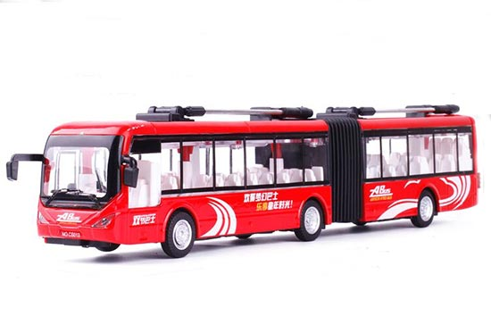 Kid 1:48 Scale White /Green /Red Diecast Articulated Trolley Bus