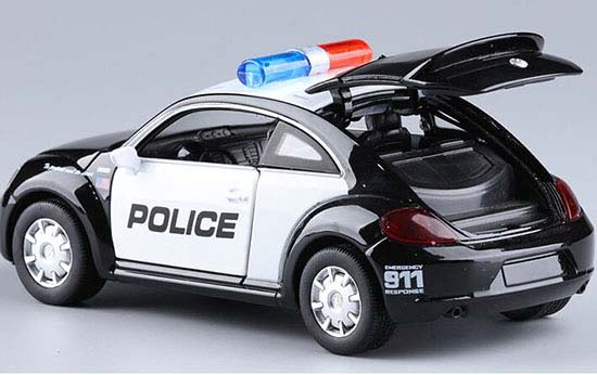 Black 1:29 Pull-Back Function Kids Police Diecast VW Beetle Toy