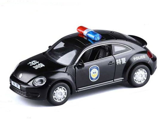 1:29 Scale Black Kids Police Theme Diecast VW Beetle Toy