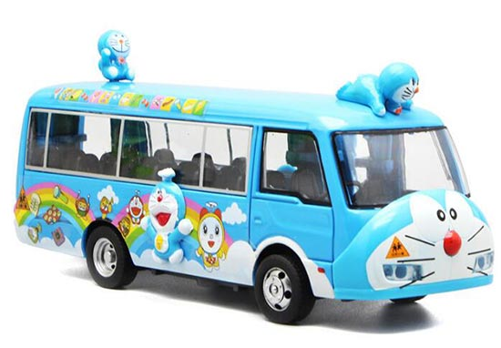 Kids Blue Pull-Back Function Die-Cast Doraemon School Bus Toy