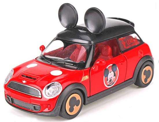 Blue / Red Kids 1:32 Scale Mickey Diecast Mini Cooper Car Toy