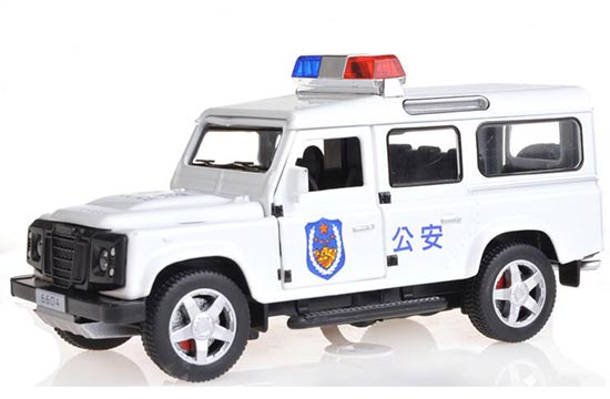 White /Black 1:32 Scale Kids Police Diecast Land Rover Defender