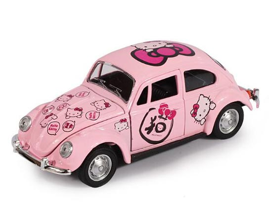 Kids Pink 1:38 Scale Hello Kitty Diecast VW Beetle Toy