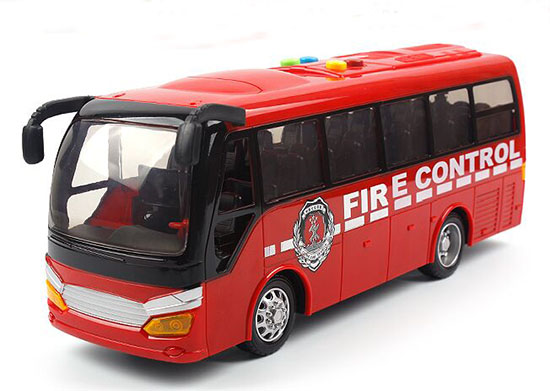 Large Scale Kids Red Plastic Fire Engine Coach Bus Toy