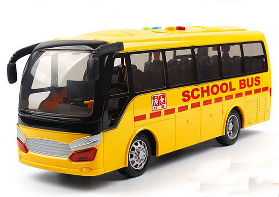 Yellow Kids Plastic Sound And Light School Bus Toy