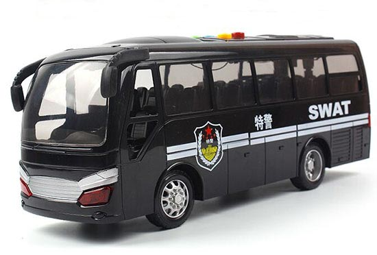 Black Kids Plastic SWAT Police Coach Bus Toy