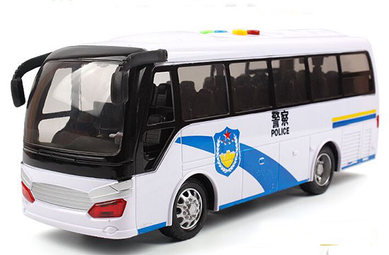 White Kids Plastic Police Coach Bus Toy