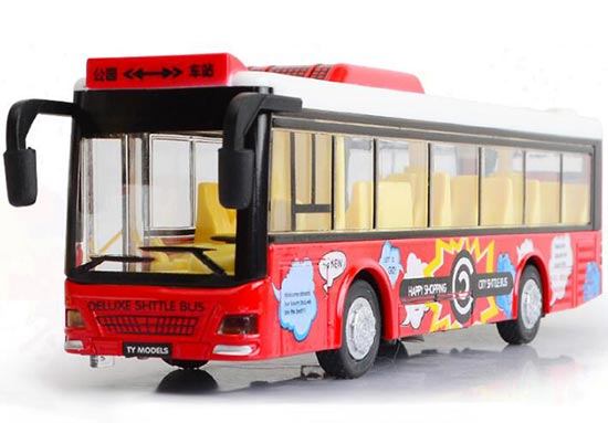 Kids White / Red / Yellow / Blue Die-Cast City Bus Toy