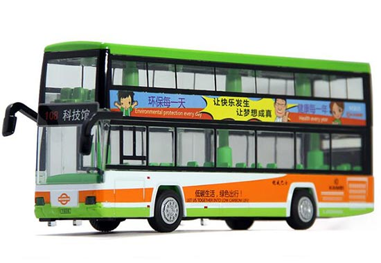 Kids Green / Red Die-Cast Hong Kong Double Decker Bus Toy