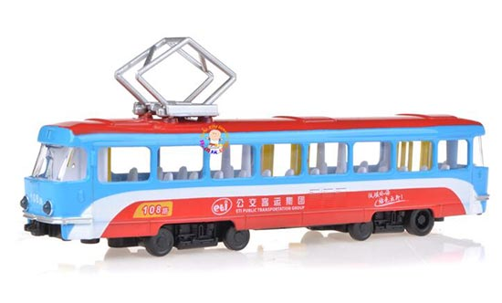 Kids Pull-Back Function Red-Blue NO.108 Die-Cast City Tram Toy