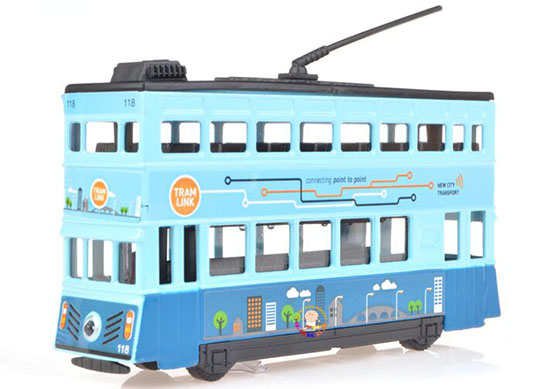Kids Red /Blue Pull-Back Function Diecast Double Decker Tram Toy