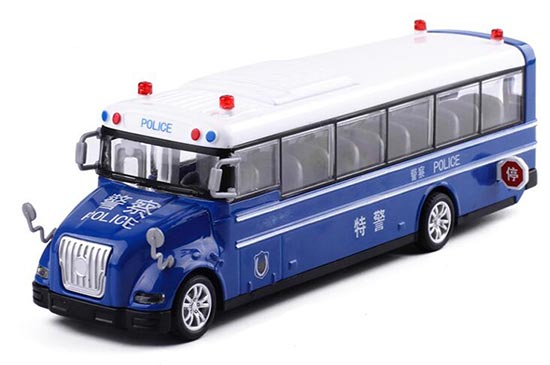 Blue 1:55 Scale Kids Die-Cast Police School Bus Toy