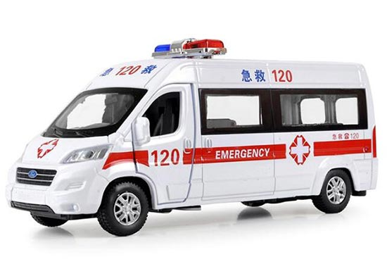 White Kids Die-Cast Ford Transit Ambulance Van Bus Toy
