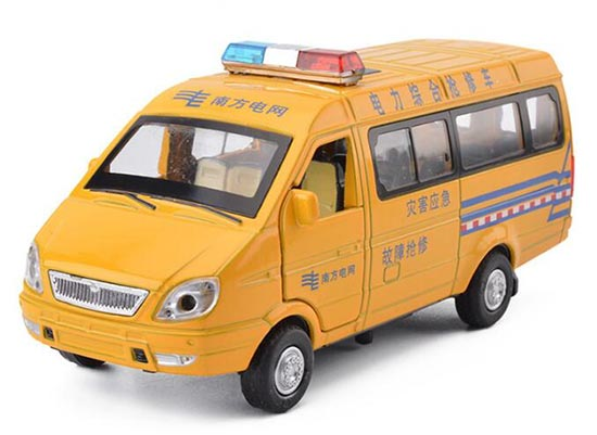 Yellow Kids Power Lines Repair Die-cast Van Bus Toy