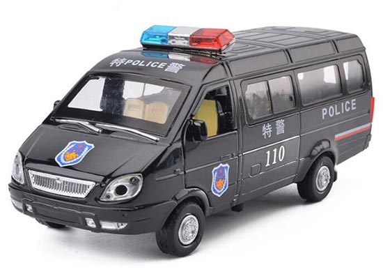 Kids Black Pull-Back Function Die-Cast Police Van Bus Toy
